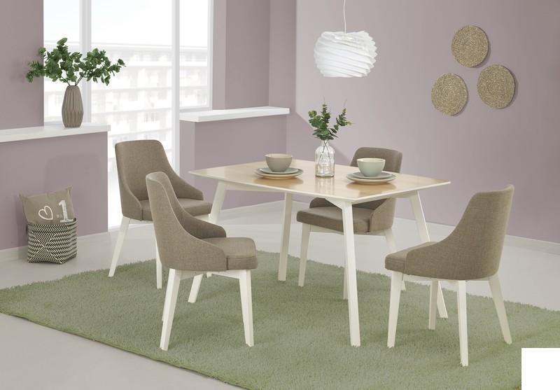 Dřevěný jídelní set Petra + 4 židle Toma buk/ bílá