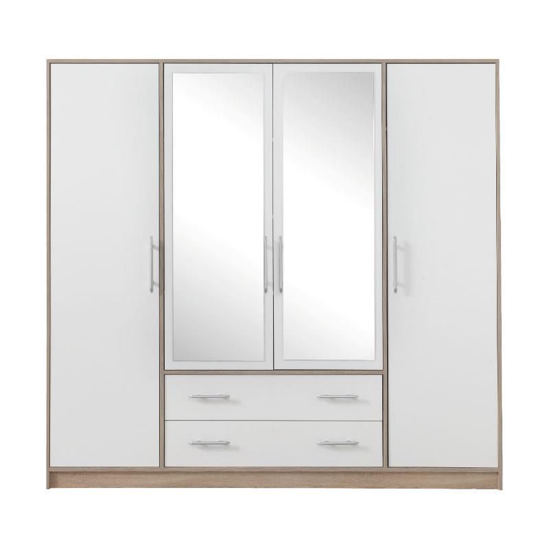 Šatní skříň Simona 1 se zrcadlem dub sonoma / bílý lux - 200 / 190 / 56 cm
