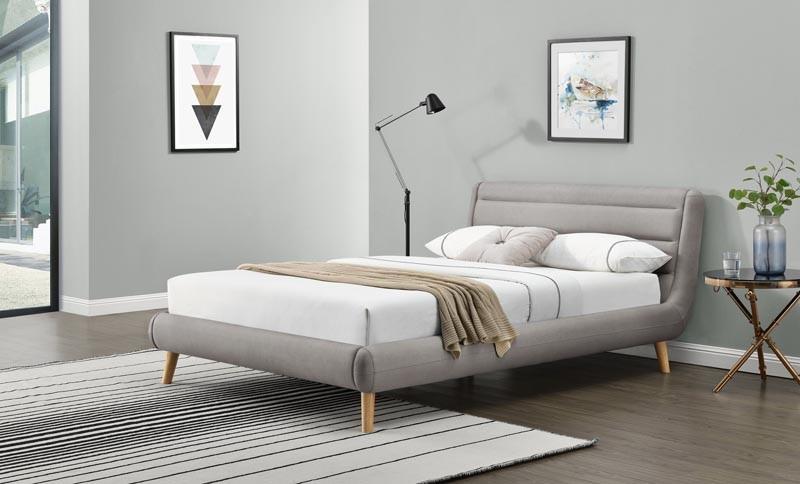 Čalouněná postel Elanda 140 x 200 cm - světle šedá