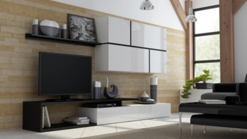 Obývací stěna Goja bílá / bílý lesk / černá