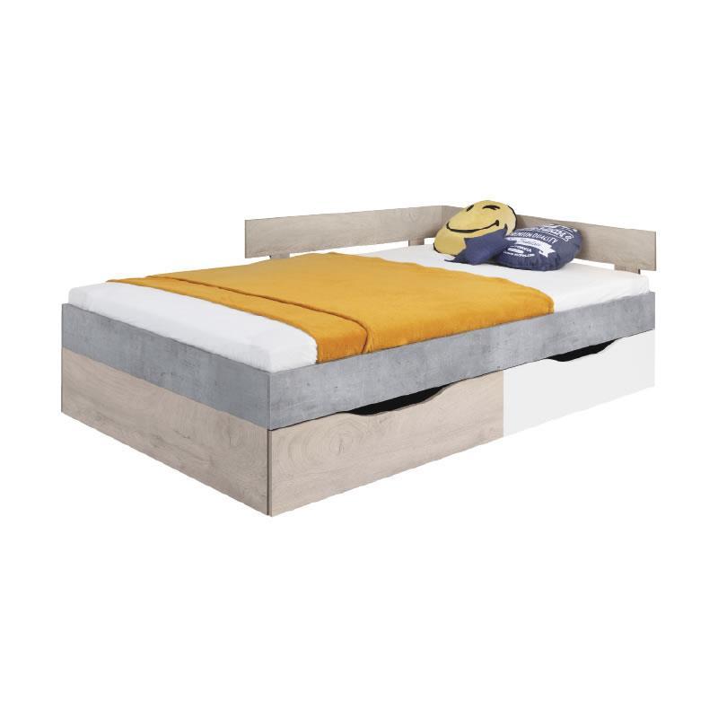Studentská postel Sigma 16 - beton / bílý lux / dub ( 120 x 200 cm )