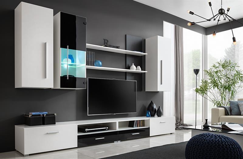 Obývací stěna Torino - bílá / černý lesk