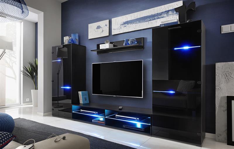 Obývací stěna Modern - černá / černý lesk