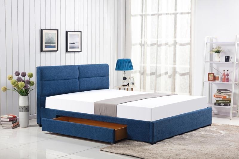 Čalouněná postel Merida 160 x 200 cm - modrá