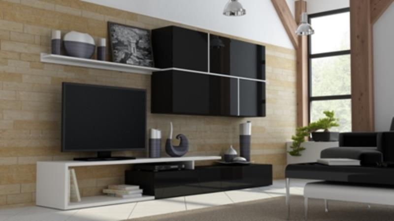 Obývací stěna Goja černá / černý lesk / bílá
