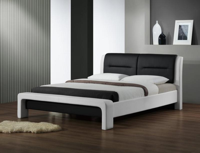 Luxusní čalouněná postel Kasandra - eko kůže bílo-černá