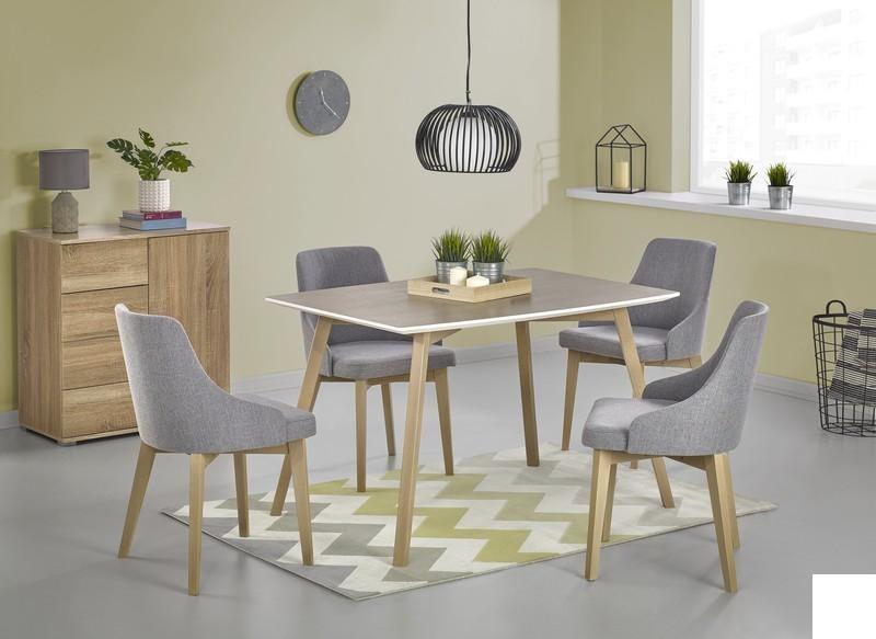 Dřevěný jídelní set Petra + 4 židle Toma dub sonoma / bílá