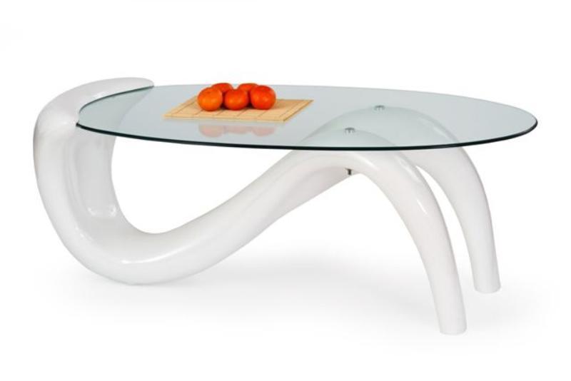 Skleněný konferenční stolek Korina - bílý