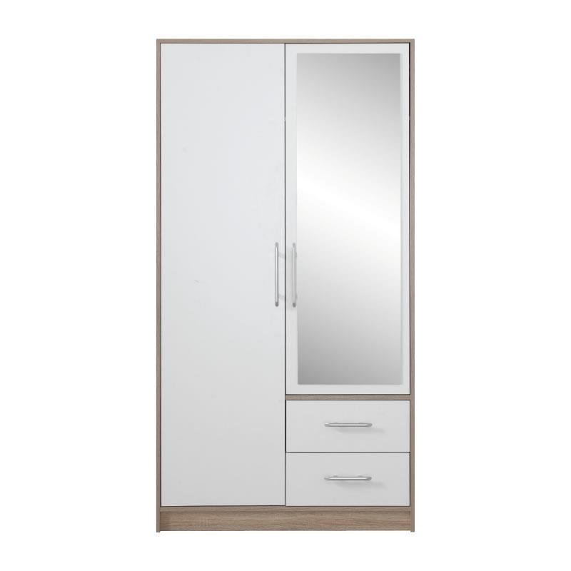 Šatní skříň Simona 3 se zrcadlem dub sonoma / bílý lux - 100 / 190 / 56 cm