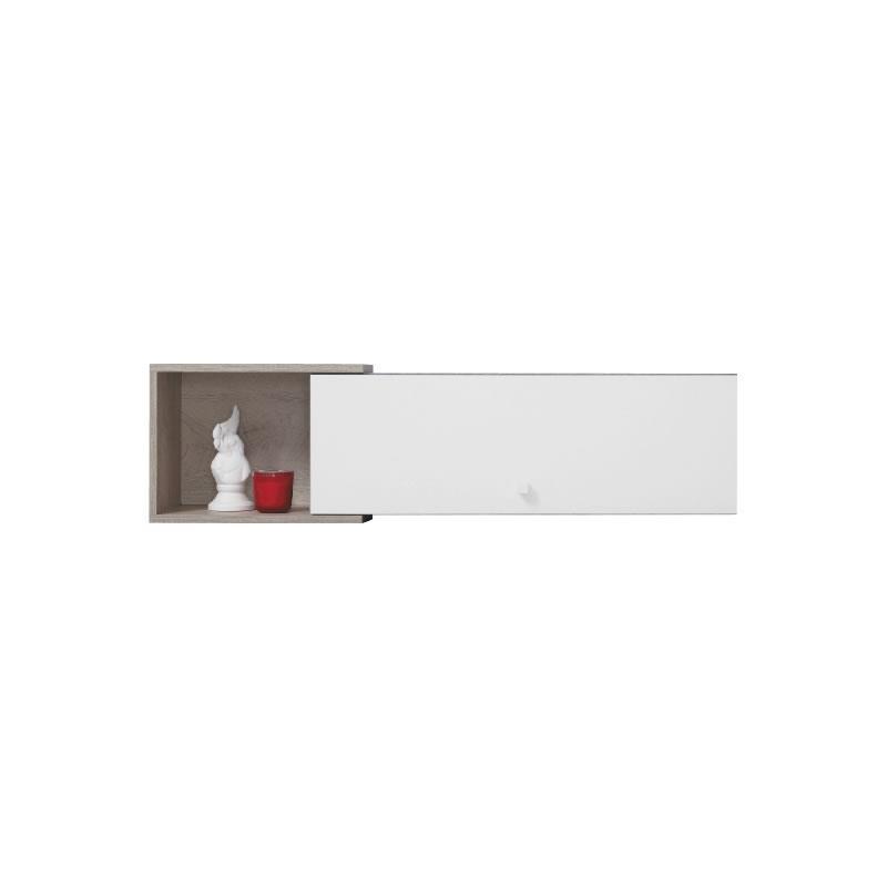 Polička Sigma 13 - beton / bílý lux / dub