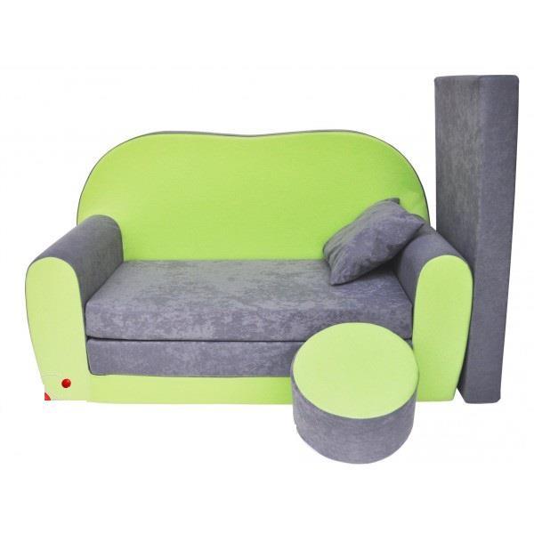 Dětská pohovka zeleno - šedá skladem