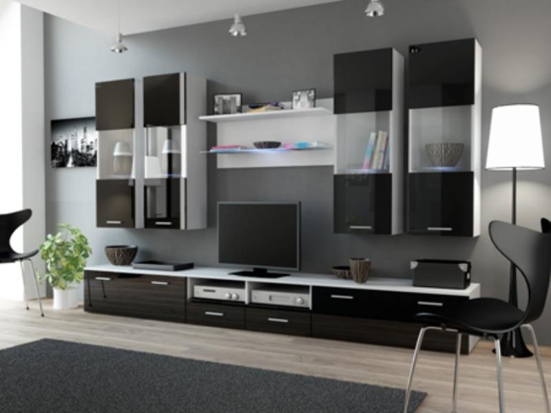 Obývací stěna Deram 1 bílá - černý lesk