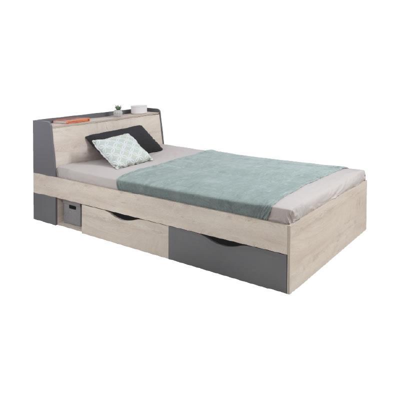 Studentská postel Della 15 - dub / antracit ( 120 x 200 cm )