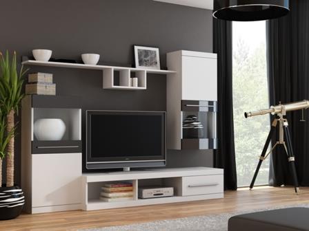 Obývací stěna Nina - bílo/černá