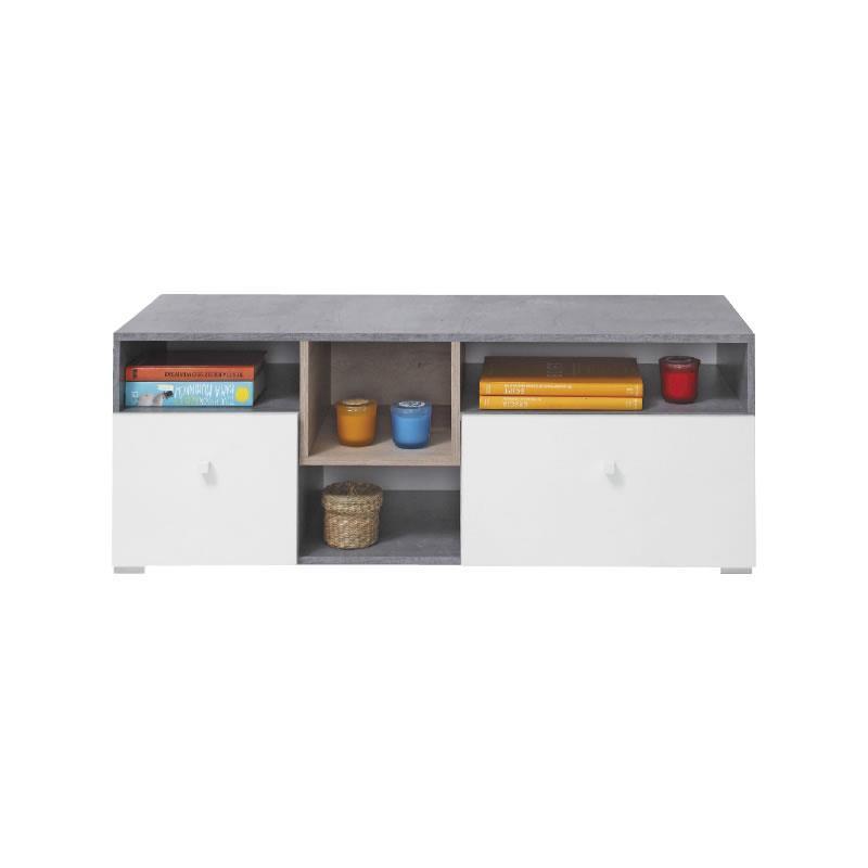 TV stolek Sigma 9 - beton / bílý lux / dub