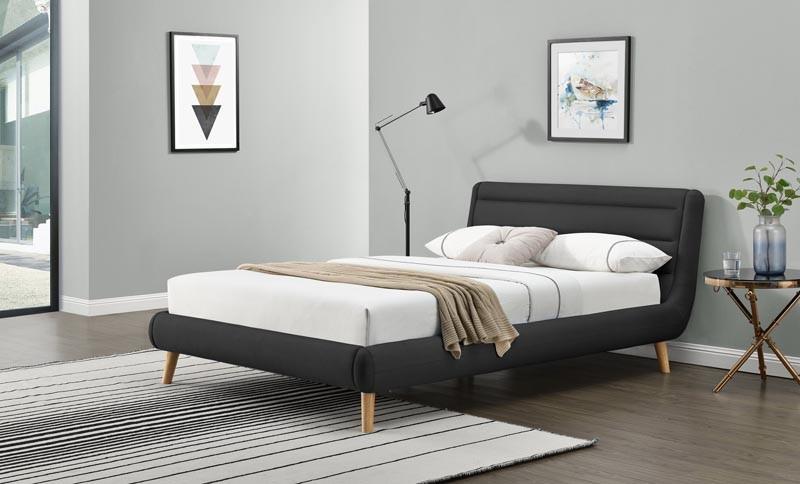 Čalouněná postel Elanda 140 x 200 cm - tmavě šedá