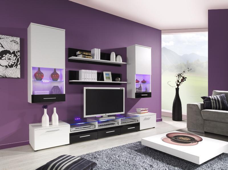Obývací stěna Camila 2 bílá - bílo-černý lesk