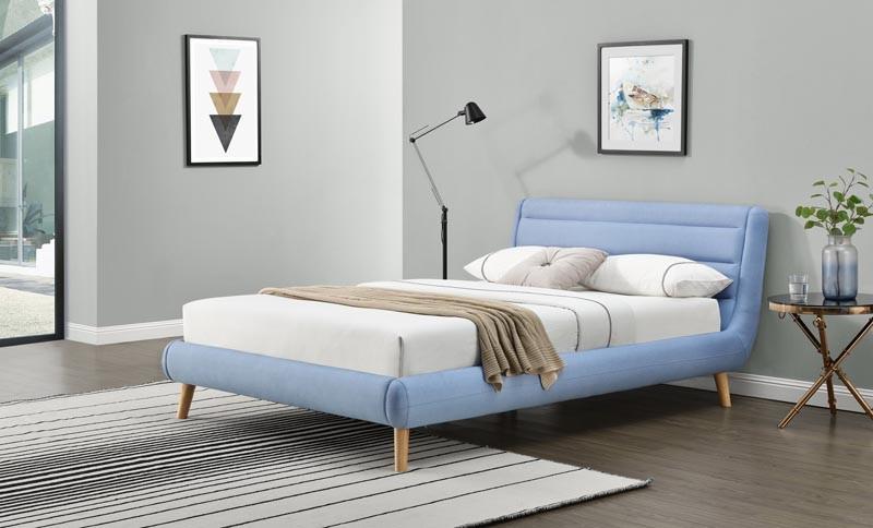 Čalouněná postel Elanda 140 x 200 cm - modrá