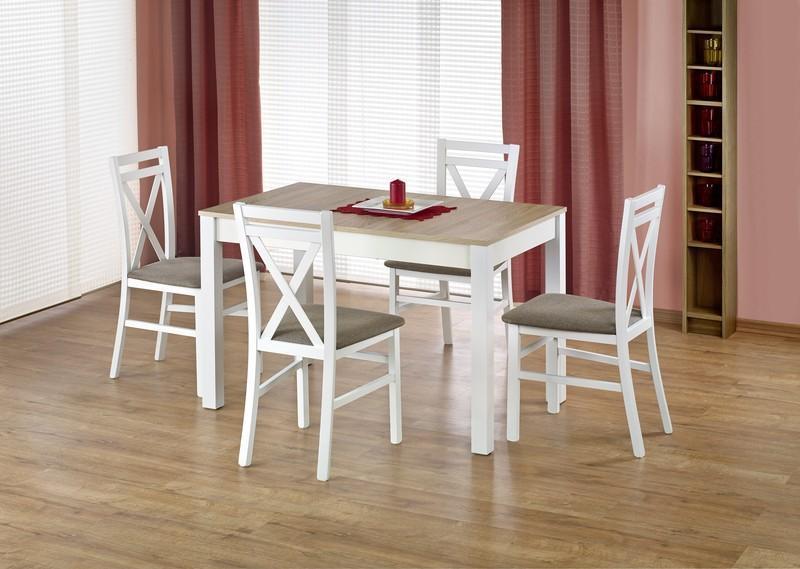 Dřevěný jídelní set Mary + 4 židle Dara dub sonoma / bílá