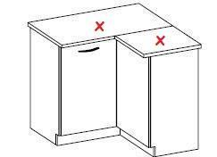 Dolní rohová skříňka Elis 6 bez pracovní desky (90 / 90 cm)
