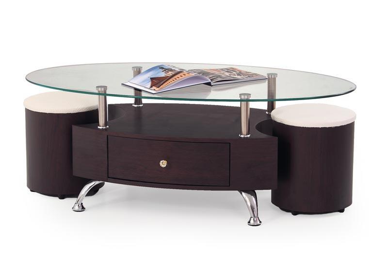 Skleněný konferenční stolek Stella + 2 taburetky