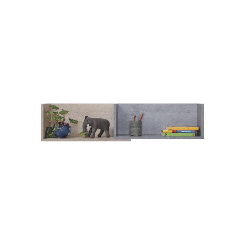 Polička Sigma 14 - beton / bílý lux / dub