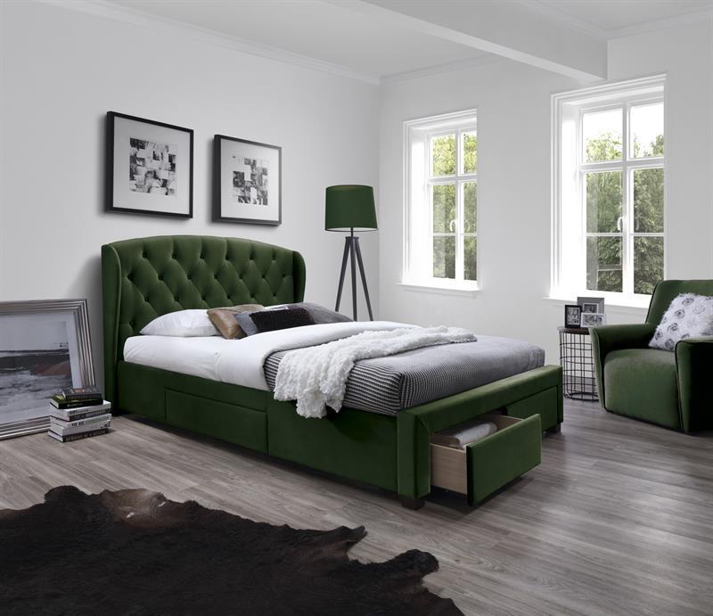 Čalouněná postel Sabrina 160 x 200 cm - tmavě zelená