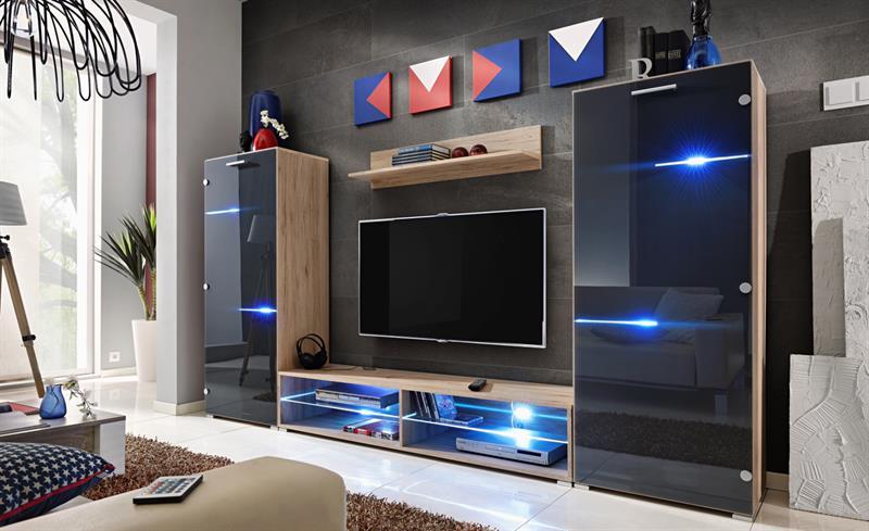 Obývací stěna Modern - dub san remo / grafit lesk
