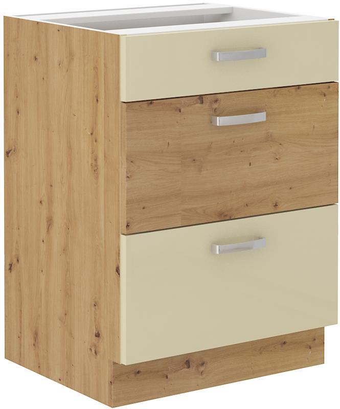Dolní skříňka Arisa 5 (60 cm) krémový lesk bez pracovní desky