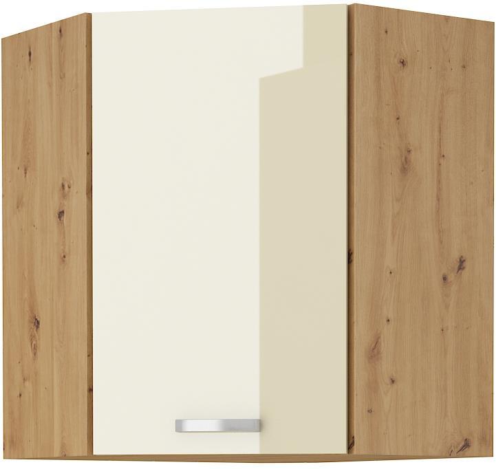 Horní rohová skříňka Arisa 20 (58x58 / 72 cm) krémový lesk
