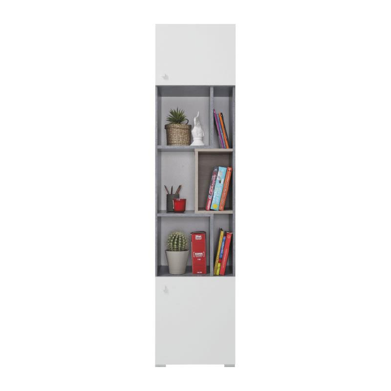Skříň Sigma 6 - beton / bílý lux / dub