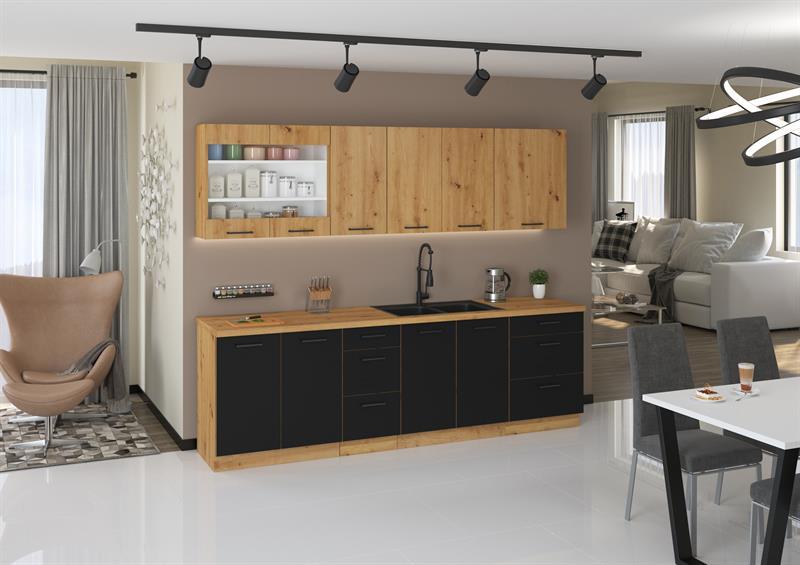 Kuchyňská linka Moderna 3 - černý mat ( volitelná sestava )