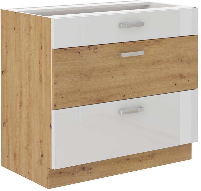 Dolní skříňka Arisa 3 (80 cm) bílý lesk - bez pracovní desky