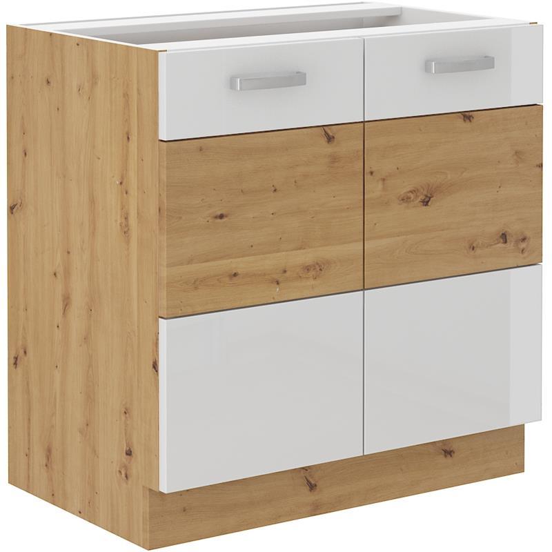 Dolní skříňka Arisa 2 (80 cm) bílý lesk - bez pracovní desky