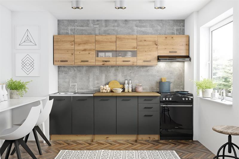 Kuchyňská linka Perla 260 cm - dub artisan / tmavě šedá