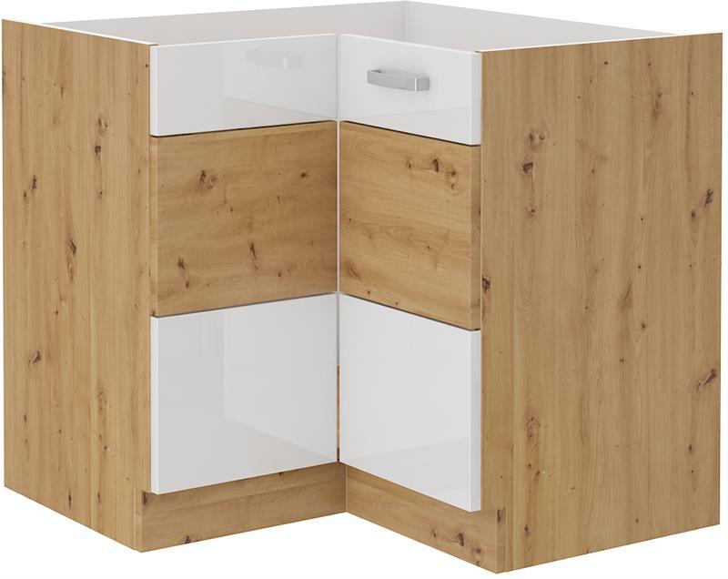 Dolní rohová skříňka Arisa 9 (89/89 cm) bílý lesk - bez pracovní desky