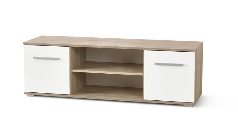 TV stolek Limo 1 dub sonoma - bílý lesk