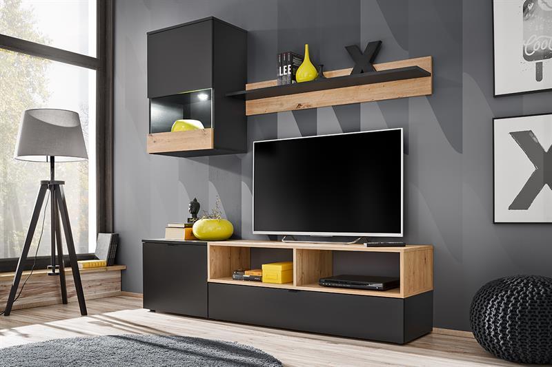 Obývací stěna Mini - černý mat / dub artisan