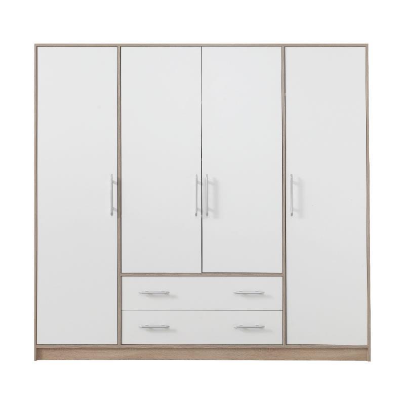 Šatní skříň Simona 1 dub sonoma / bílý lux - 200 / 190 / 56 cm