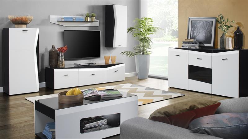 Obývací stěna Rake - černá / bílá