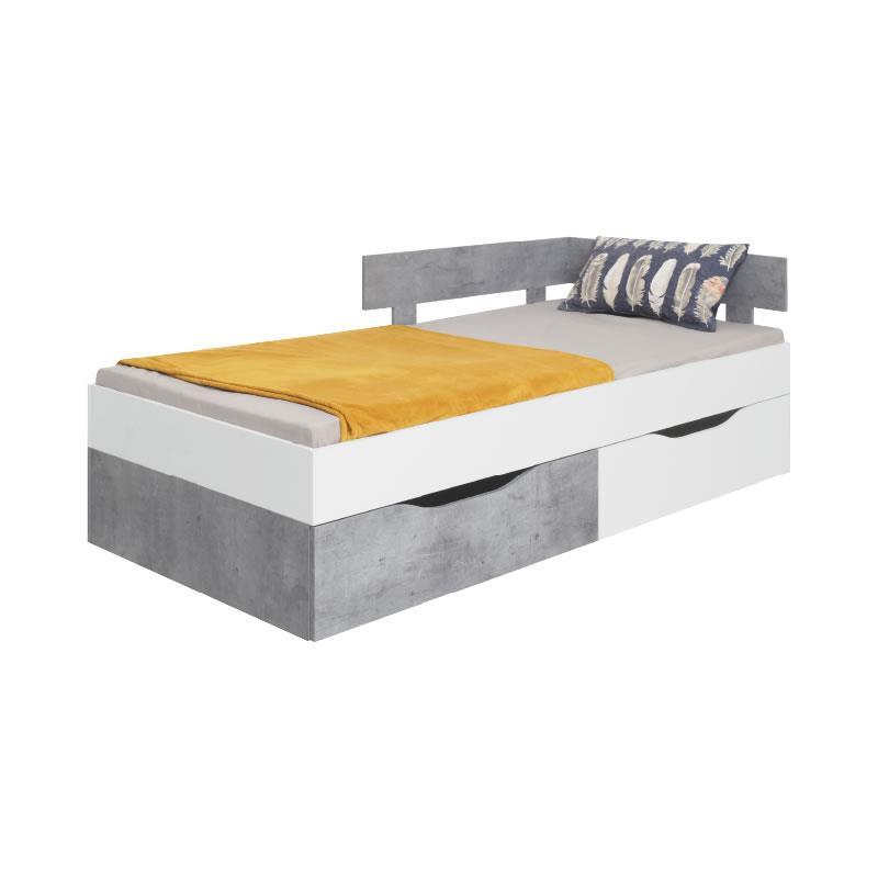 Studentská postel Sigma 16 - bílý lux / beton ( 120 x 200 cm )