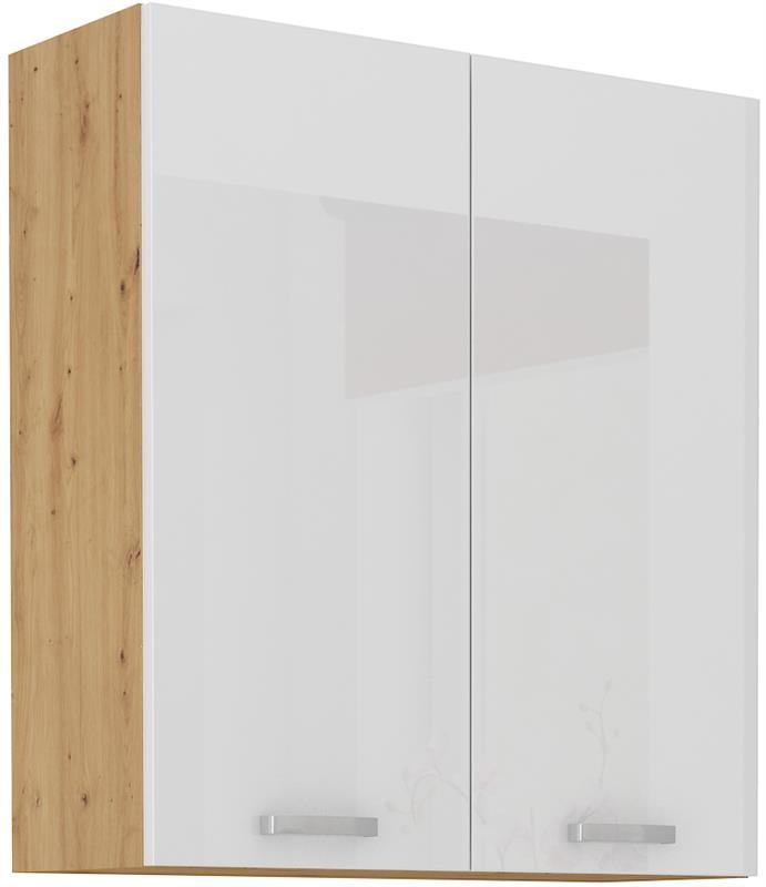 Horní skříňka Arisa 21 (80 / 90 cm) bílý lesk