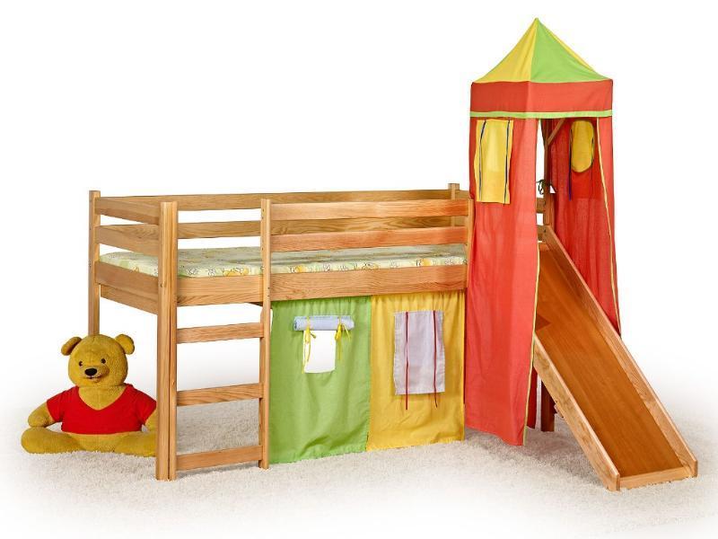 Patrová postel  Filip se skluzavkou, věží a domečkem
