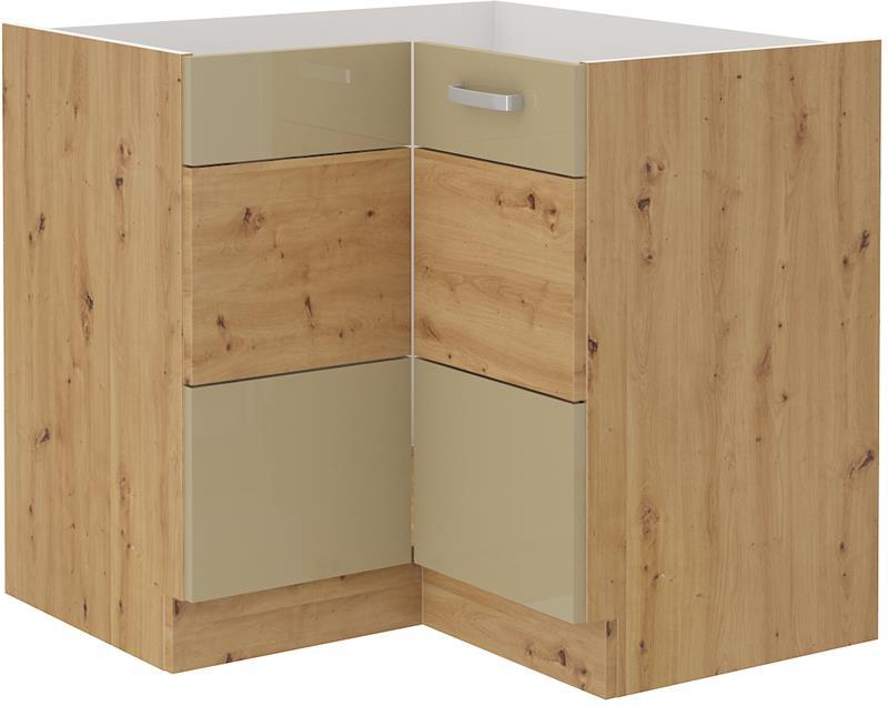 Dolní rohová skříňka Arisa 9 (89/89 cm) cappucino lesk bez pracovní desky