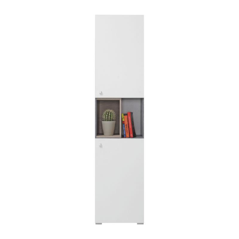 Skříň Sigma 5 - beton / bílý lux / dub