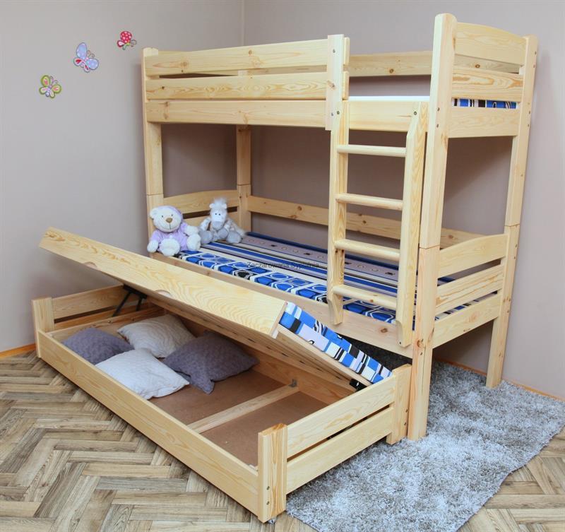 Patrová postel Tamara pro 3 osoby ( zátěžová postel ) bílá - skladem
