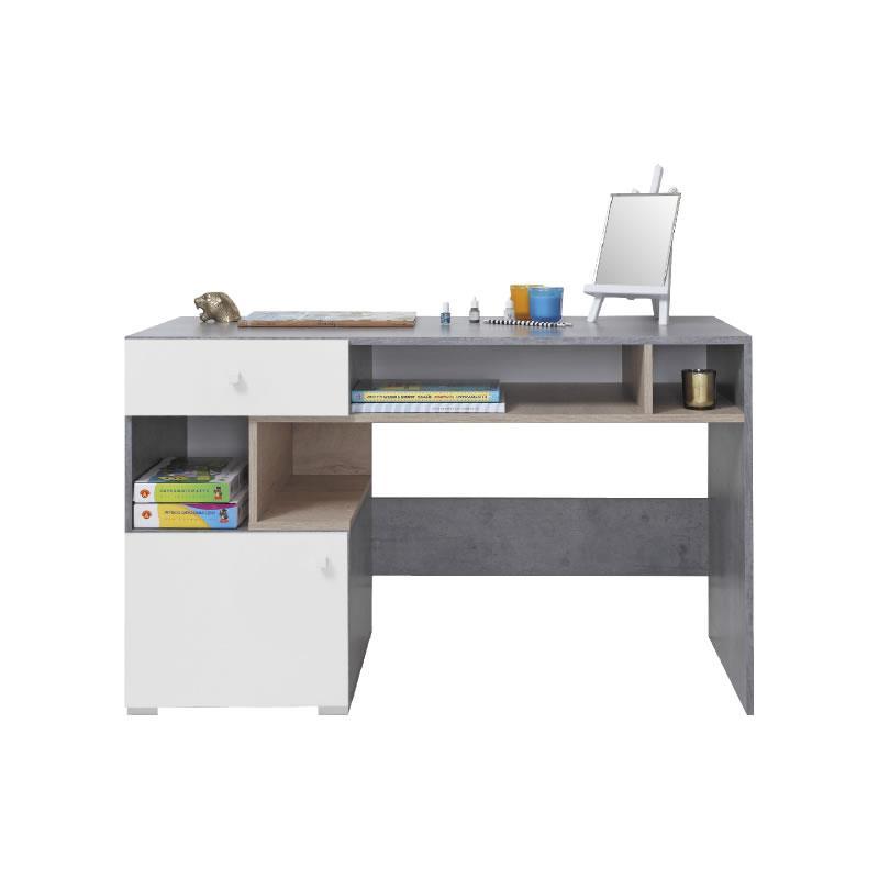 Psací stůl Sigma 10 - beton / bílý lux / dub