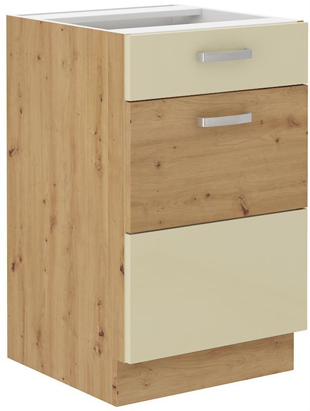 Dolní skříňka Arisa 7 (50 cm) krémový lesk bez pracovní desky