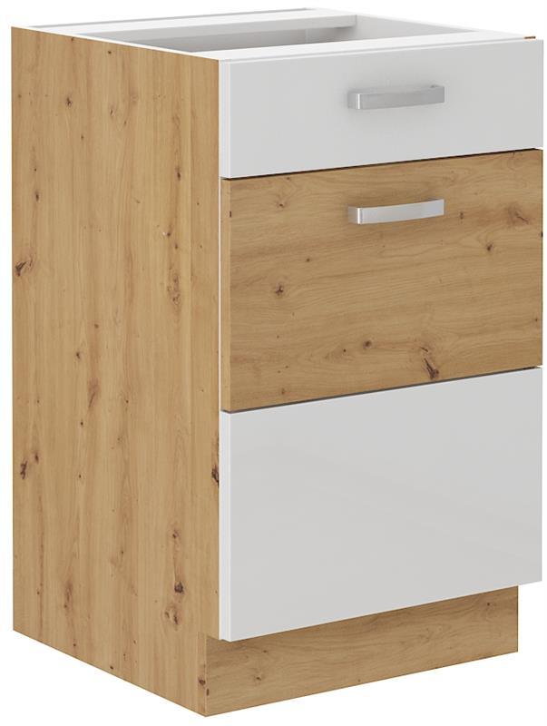 Dolní skříňka Arisa 7 (50 cm) bílý lesk - bez pracovní desky