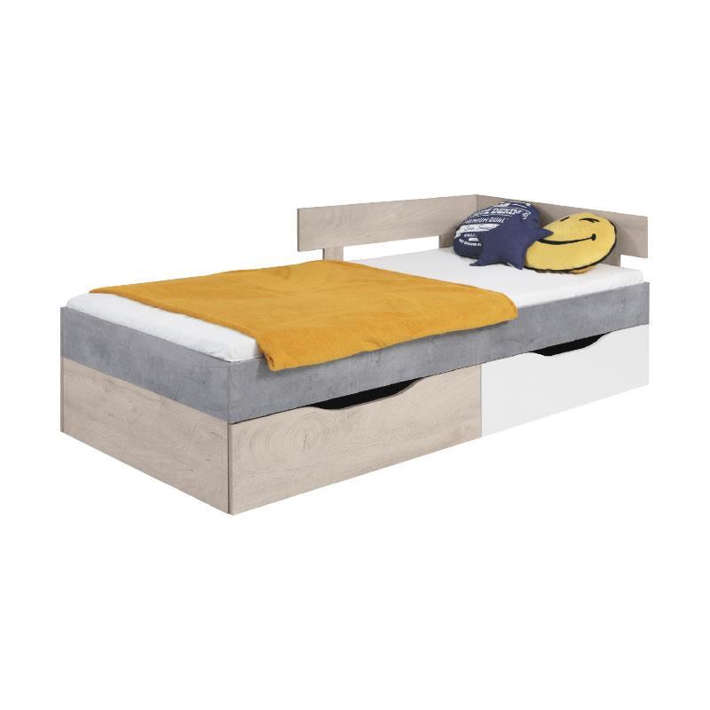 Studentská postel Sigma 15 - beton / bílý lux / dub ( 90 x 200 cm )